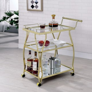 Link to Furniture of America Kiva Contemporary Metal Casters Serving Cart Similar Items in Home Bars