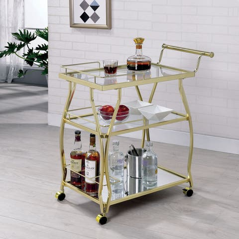 Furniture of America Kiva Contemporary Metal Casters Serving Cart