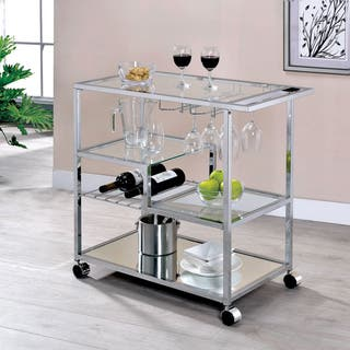 Fairbanks Contemporary Chrome Serving Cart by FOA
