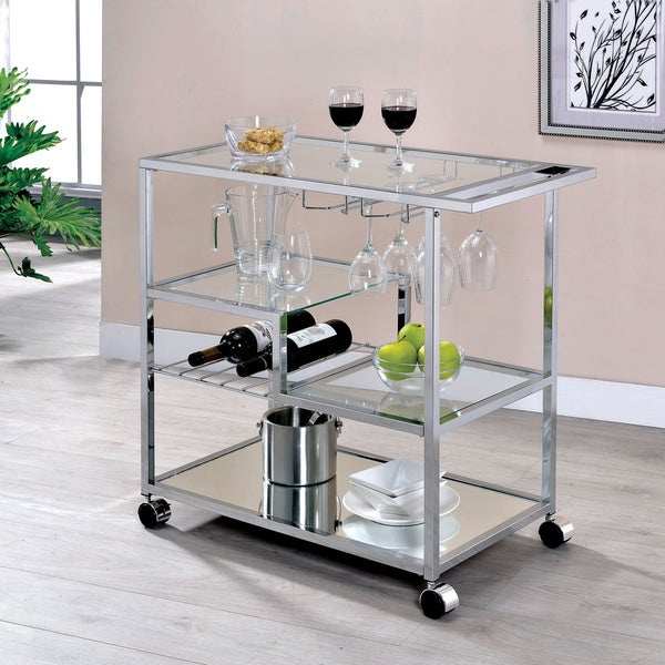 Furniture of America Baza Contemporary Chrome Metal Serving Cart. Opens flyout.