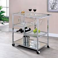 Furniture of America Fairbanks Contemporary Glam Serving Cart