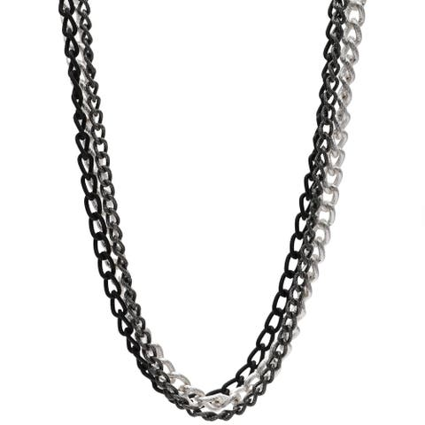 3-row 36-inch Tri-Tone Chain Necklace - tri tone