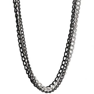 3-row 36-inch Tri-Tone Chain Necklace - tri tone - tri tone