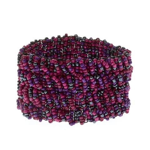 Tonal Woven Glass Bead Stretch Bracelet - Purple