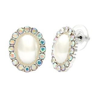 Alexa Starr Faux Pearl Rhinestone Halo Button Earrings