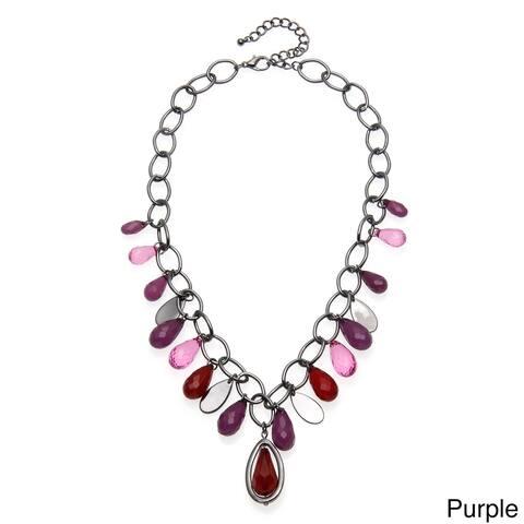 Hematite-colored Chain Lucite Teardrop Necklace