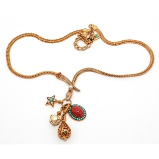 24K Yellow Gold Plated Necklace 'Sun Light' Collection by Amaro - Red