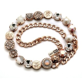 Amaro 'Pearl Gem' Collection 24K Rose Gold Plated Necklace - White