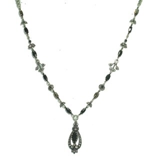 Amaro 'Primitive' Collection .925 Sterling Silver Plated Necklace - Black