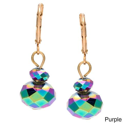 High-Polish Goldtone Bronze Crystal Faceted Drop Earrings