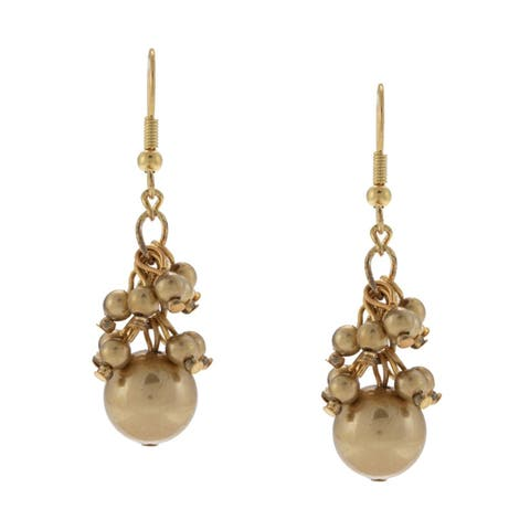 Elegant Goldtone Pear-Cut Pearl Hook Earrings - Gold