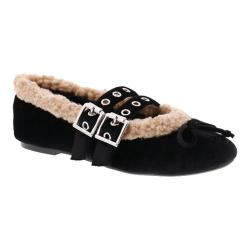 Women's Penny Loves Kenny Bock Fur Lined Buckle Mary Jane Black Velvet/Faux Fur