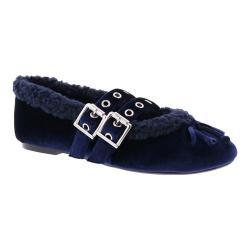 Women's Penny Loves Kenny Bock Fur Lined Buckle Mary Jane Navy Velvet/Faux Fur