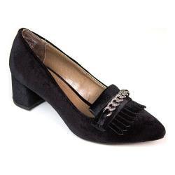 Women's Rialto Marshall Kiltie Loafer Black Velvet Fabric
