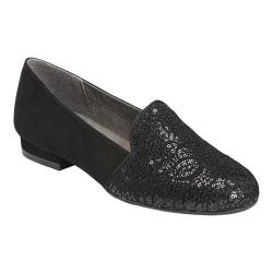 Women's A2 by Aerosoles Good Call Flat Black Lace/Faux Suede