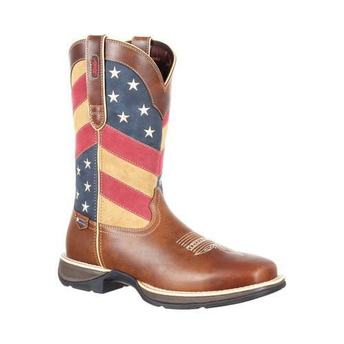 10f3b06f376 Men's Durango Boot DDB0124 Rebel 12in Pull-On Western Flag Boot  Brown/Patriotic Full Grain Leather/Synthetic