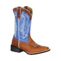 Women's Durango Boot DRD0192 Mustang 10in Pull-On Western Boot Brown/Royal Blue Full Grain Leather/Synthetic