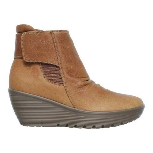 bb1b2f6e2a19 Shop Women s Skechers Parallel Fastened Wedge Ankle Boot Tan - Ships ...