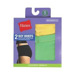 Women's Hanes Cotton Stretch Boy Briefs (10 Pairs) Assorted