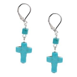 Double Drop Turquoise Cross Earrings
