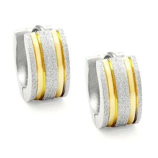 Stainless Steel Two-Tone Ear Cuff Earrings