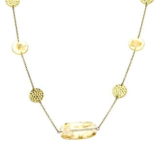 Goldtone Fleck Illusion Lucite Necklace