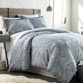 City Scene Milan Blue Cotton Reversible 3 Piece Comforter