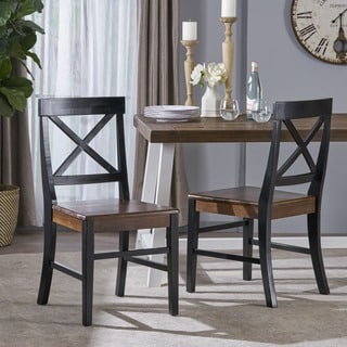 Roshan Farmhouse Acacia Wood Dining Chair (Set of 2) by Christopher Knight Home