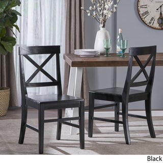 Roshan Farmhouse Acacia Wood Dining Chair (Set of 2) by Christopher Knight Home (5 options available)