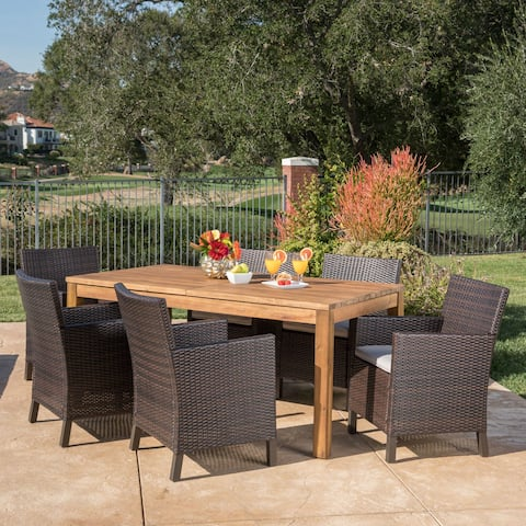 Cobalt Outdoor Wicker Wood Expandable Rectangle Dining Set with Cushions by Christopher Knight Home