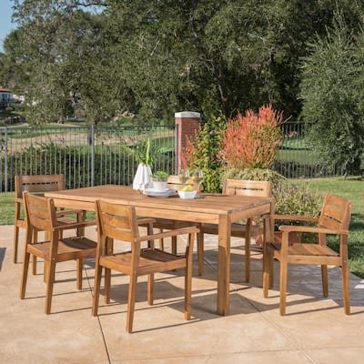 Wilson Outdoor Wood Expandable Rectangle Dining Set by Christopher Knight Home
