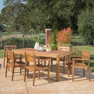 Link to Wilson Outdoor Wood Expandable Rectangle Dining Set by Christopher Knight Home Similar Items in Outdoor Dining Sets