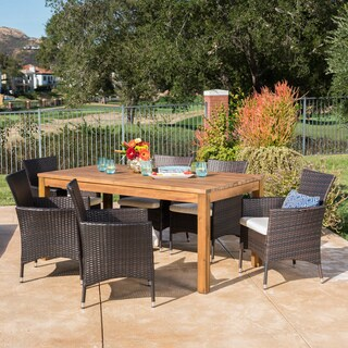 Oslo Outdoor Wicker Wood Expandable Rectangle Dining Set with Cushions by Christopher Knight Home