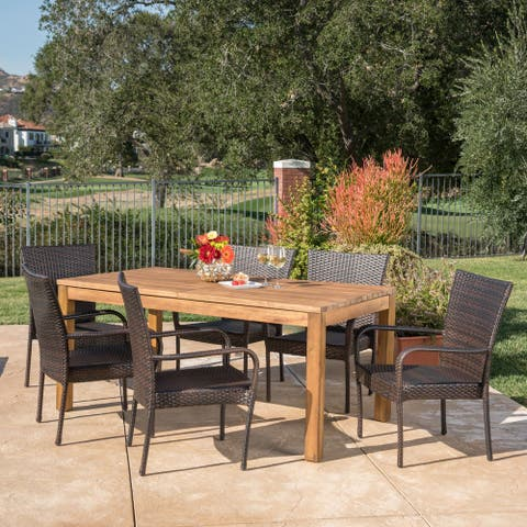 Lambert Outdoor Wicker Wood Expandable Rectangle Dining Set by Christopher Knight Home