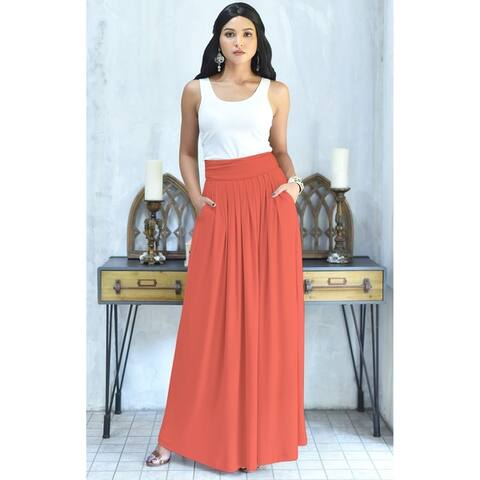 14da969248 KOH KOH Womens Long Pleated Flowy Vintage Workwear Flowy Maxi Skirt