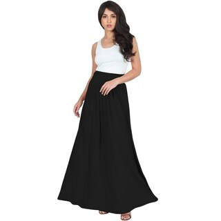 KOH KOH Womens Long Pleated Flowy Vintage Workwear Flowy Maxi Skirt