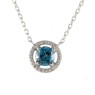 """Ster Silver London Blue Topaz & Created White Sapphire Necklace 18""""L"""