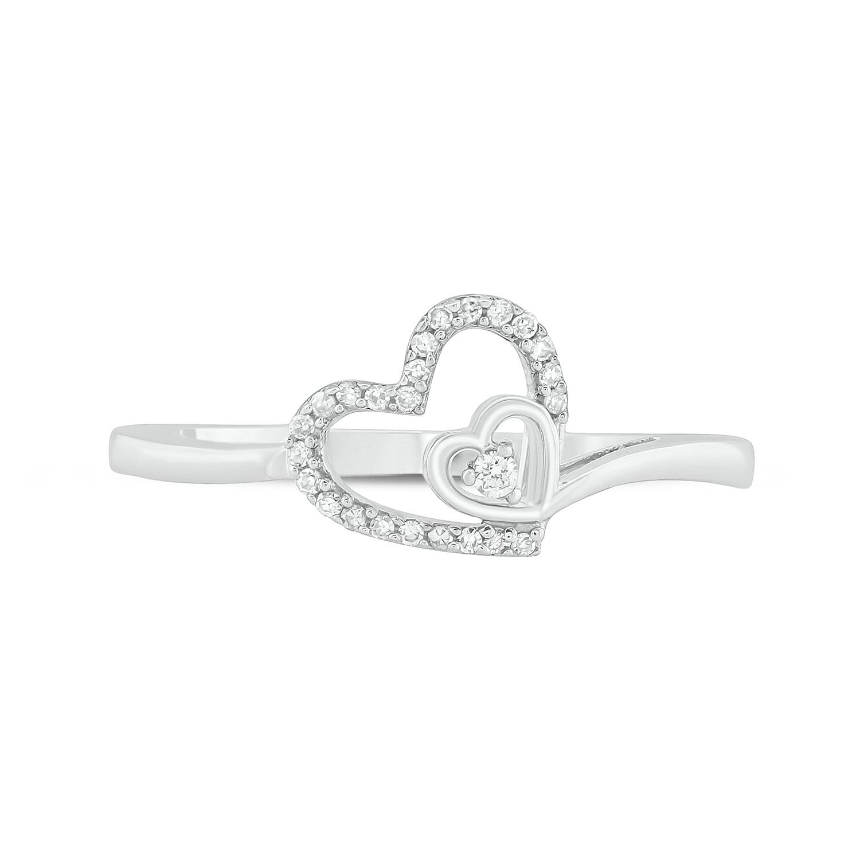 3 Diamond Promise Ring in 14K White Gold 1//20 cttw, Size-9.75 G-H,I2-I3