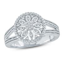 Cali Trove 1/10 Ct Round Diamond Floral Fashion Ring In Sterling Silver. - White H-I