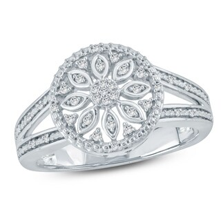 1/10 Ct Round Diamond Floral Fashion Ring In Sterling Silver. - White H-I