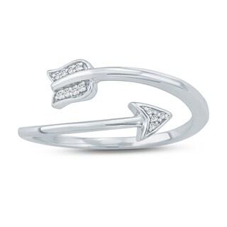 Cali Trove 1/20 Ct Round Diamond Arrow Fashion Ring In 10kt White Gold. - White H-I