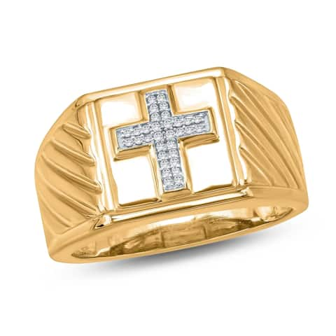 Cali Trove 1/20 Ct Round Diamond Cross Men's Ring in Yellow Plated Sterling Silver. - White H-I - White H-I