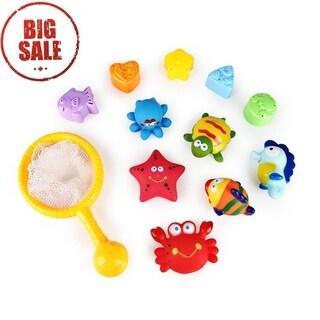 SainSmart Jr. Baby Bath Toys Animals with Fishing net 12PCS