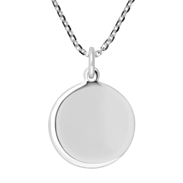 06a6f909c39a8 Handmade Round Engravable 15 mm Circle Tag Sterling Silver Necklace  (Thailand)