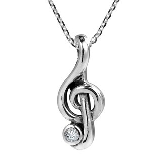 Stylish Sterling Silver Musical Treble Clef Cubic Zirconia Necklace - White