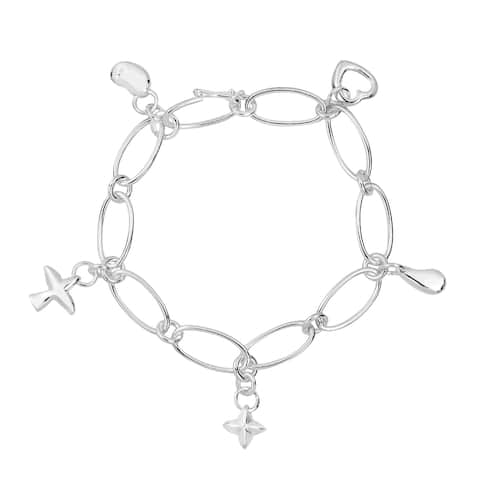 Handmade Girly and Trendy Chain Link Sterling Silver Five Charm Bracelet (Thailand)
