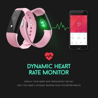 Fitness Tracker with Heart Rate Wristband Bracelet Sport Pedometer Auto Activity Tracker for iOS iPhone Android Smart Phone
