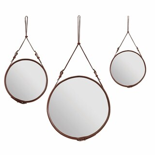 Jacques Adnet Amrah Cocoa Leather Strap Round Wall Mirror