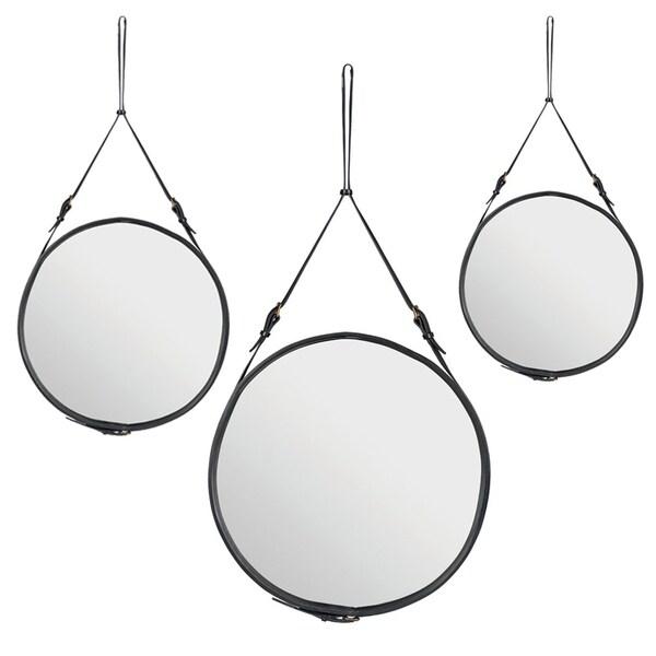 Amrah Black Leather Strap Round Wall Mirror