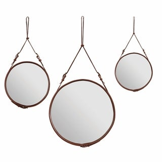 Amrah Cocoa Leather Strap Round Wall Mirror